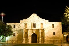 Alamo San Antonio Texas. The Alamo at night - San Antonio Texas. Built in 1724, the Alamo was first named Misión San Antonio de Valero and was originally royalty free stock image