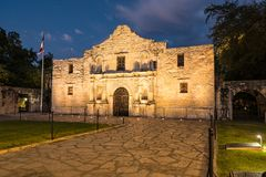 The Alamo in San Antonio, Texas. The historic Alamo Mission in San Antonio, Texas at night royalty free stock photos