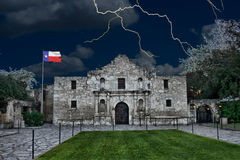 Alamo in San Antonio,Texas. A stormy night at the Alamo ,San Antonio,Texas royalty free stock photos
