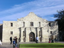 The Alamo in San Antonio. Tourists in front of the Alamo in San Antonio, Texas. Home of the famous 1836 battle when this Spanish mission was turned into a Royalty Free Stock Photos