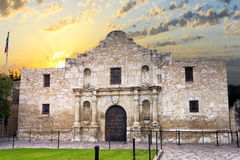 The Alamo, San Antonio, TX. Exterior view of the historic Alamo shortly after sunrise stock images