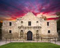 The Alamo, San Antonio, TX. Exterior view of the historic Alamo shortly after sunrise royalty free stock photos