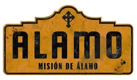 Alamo San Retro Antonio Mission Sign Vintage Grunge stock fotografie