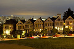 Alamo Square at night Stock Images