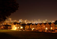 Alamo Square at night. In San Francisco, USA stock photo