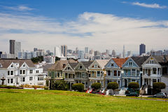 Alamo Square and San Francisco's Six Sisters. Alamo Square and Postcard Row San Francisco's Six Sisters are Painted Ladies Stock Photo