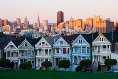 Alamo Square in San Francisco at sunset Stock Images