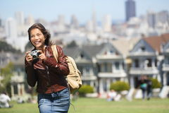 Alamo Square San Francisco Tourist. Young traveler woman holding camera taking tourist photo in Alamo Park by the Painted Ladies, The Seven Sisters, San stock photos