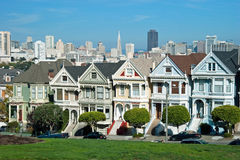 Alamo Square in San Francisco, Victorian houses Stock Photos