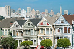 Alamo Square in San Francisco, Victorian houses Royalty Free Stock Image