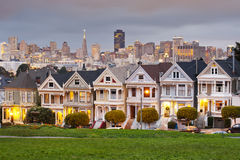 Alamo Square at sunset, San Francisco Stock Image