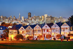 Alamo Square at twilight Stock Images