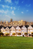 Alamo Square at twilight Royalty Free Stock Images