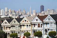 Alamos Square - The Painted Ladies. San Francisco (USA royalty free stock photography