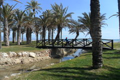 ALAMOS Strand-Torremolinos-Andalusia Arkivfoto