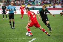 Alan Dzagoev auf dem russischen Team des Spiels gegen Nordirland Lizenzfreie Stockbilder