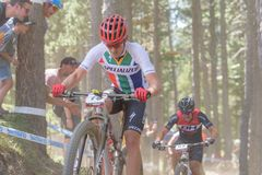 ALAN HATHERLY RSA in the MERCEDES-BENZ UCI MTB WORLD CUP 2019 - XCO Vallnord, Andorra on July 2019 royalty free stock photo