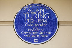 Alan Turing Blue Plaque in London. LONDON, UK - FEBRUARY 16TH 2017: A blue plaque on Warrington Cresent in the Maida Vale area of London, marking the location Stock Images