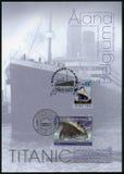 ALAND, ΒΈΛΓΙΟ - 2012: παρουσιάζει τιτανική, άσπρη γραμμή αστεριών, τιτανική εκατονταετία 1912-2012 Στοκ φωτογραφία με δικαίωμα ελεύθερης χρήσης