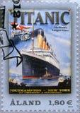 ALAND - 2012: выставки титанические, титаническое столетие 1912-2012, белая линия звезды Стоковая Фотография RF