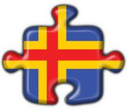 Aland aaland button flag puzzle shape. 3D Stock Photography
