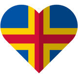 Aland flat heart flag Royalty Free Stock Photos