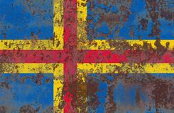 Aland grunge flag, Finland dependent territory flag. Old flag Stock Photos