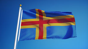 Aland Islands flag in slow motion seamlessly looped with alpha
