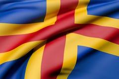 Aland Islands flag waving. 3d rendering of Aland Islands flag waving Royalty Free Stock Photo