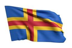 Aland Islands flag waving. 3d rendering of Aland Islands flag waving on white background Stock Image
