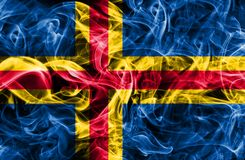Aland smoke flag,Finland dependent territory flag. Aland smoke flag, Finland dependent territory flag Royalty Free Stock Photo