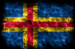 Aland smoke flag,Finland dependent territory flag. Aland smoke flag, Finland dependent territory flag Royalty Free Stock Image