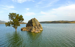 The Alange reservoir panoramic view, Badajoz province, Extremadura, , Spain Royalty Free Stock Images