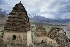 Alanian nekropol i Dargavs Caucasus Ryssland Royaltyfri Foto