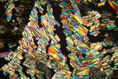 Alanineaminosyra under mikroskopet royaltyfri foto