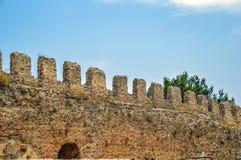 alanya城堡世纪海岸堡垒片段找出地中海山海运顶层火鸡xiii 库存图片