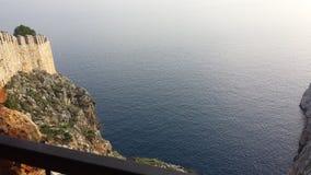alanya城堡世纪海岸堡垒片段找出地中海山海运顶层火鸡xiii 图库摄影
