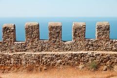 alanya城堡海运天空视图墙壁 库存照片
