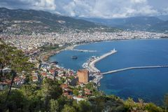 Alanya,土耳其全景 免版税库存图片