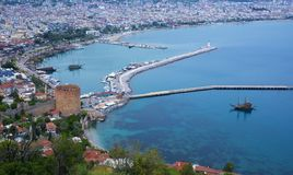 Alanya,土耳其全景 免版税图库摄影