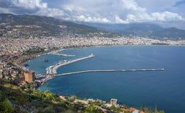 Alanya,土耳其全景 免版税库存照片