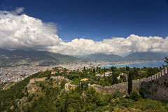 Alanya. Turkey. Alanya. Aerial view the Citadel of Alanya (Alanya Kalesi - remains of fortified walls). There is a modern city in background Royalty Free Stock Image