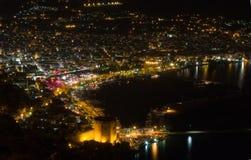 Alanya alla notte Fotografia Stock Libera da Diritti