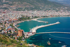Alanya bay and Red Tower stock photos