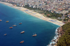 Alanya Beach. View on Mediterranean coast in Tukey Antaliya Royalty Free Stock Photos