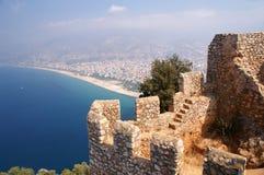 Alanya, castillo, playa foto de archivo libre de regalías