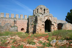 Alanya Castle Detail. With blue sky royalty free stock photo