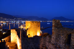 Alanya Castle in the Evening Stock Photo