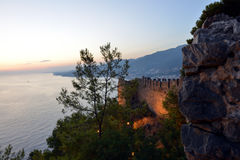Alanya Castle in the Evening Royalty Free Stock Images