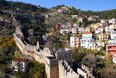 Alanya castle and houses Royalty Free Stock Images